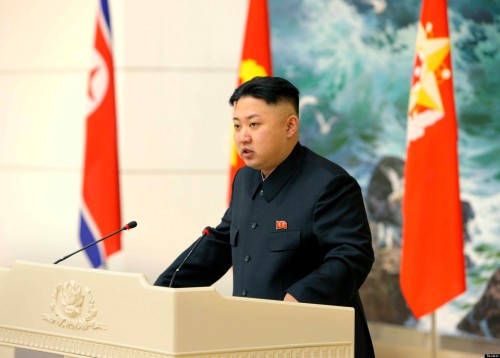 File photo of North Korean leader Kim Jong-un speaking during a banquet  in Pyongyang